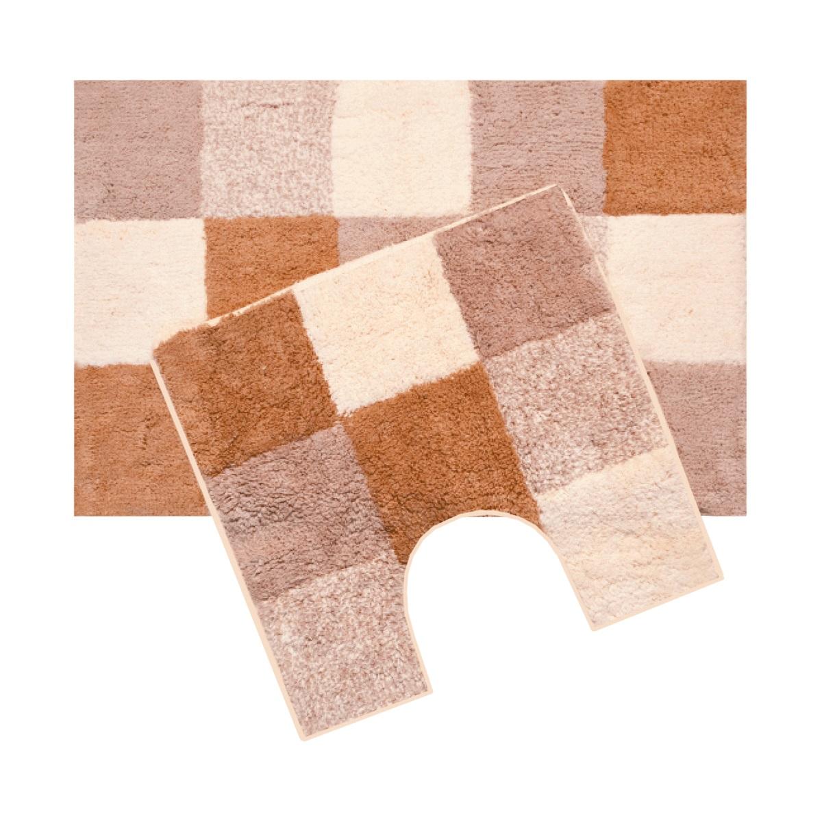 Набор ковриков для ванной Iddis Hopscotch, цвет: бежевый, 50 х 80 см, 50 х 50 см, 2 шт460M580i13100% Полиэстеровые тканные коврики для ванной комнаты 50*80+50*50 см. Высота ворса 2,5 см. На латексной подложке. Упаковка ПП пакет