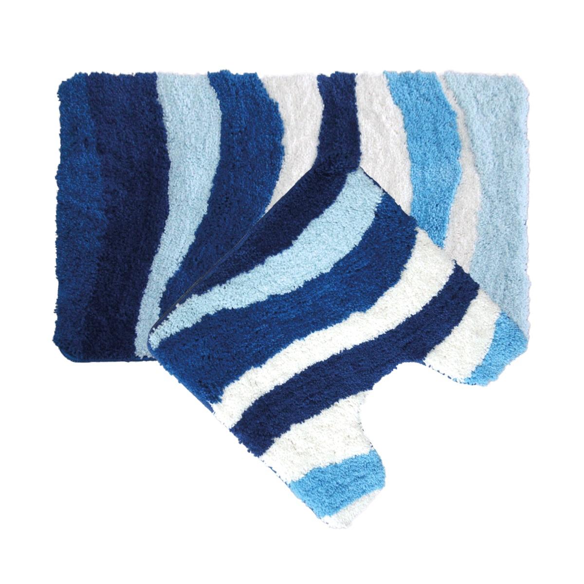 Набор ковриков для ванной Iddis Blue Wave, цвет: синий, 50 х 80 см, 50 х 50 см, 2 шт480M580i13Набор ковриков для ванной комнаты и туалета Iddis выполнен из микрофибры. Коврики имеют специальную латексную основу, благодаря которой они не скользят на напольных покрытия в ванной, что обеспечивает безопасность во время использования. Коврики изготавливаются по специальным технологиям машинного ручного тафтинга, что гарантирует высокое качество и долговечность.Высота ворса: 2,5 см.