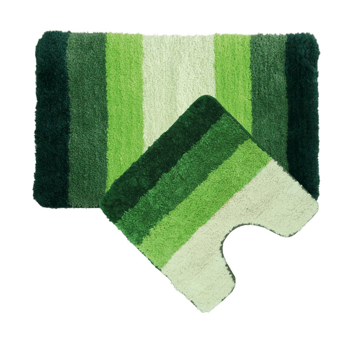 Набор ковриков для ванной Iddis Green Gradiente, цвет: зеленый, 50 х 80 см, 50 х 50 см, 2 шт552M580i13Набор ковриков для ванной комнаты и туалета Iddis выполнен из микрофибры. Коврики имеют специальную латексную основу, благодаря которой они не скользят на напольных покрытия в ванной, что обеспечивает безопасность во время использования. Коврики изготавливаются по специальным технологиям машинного ручного тафтинга, что гарантирует высокое качество и долговечность.Высота ворса: 2,5 см.