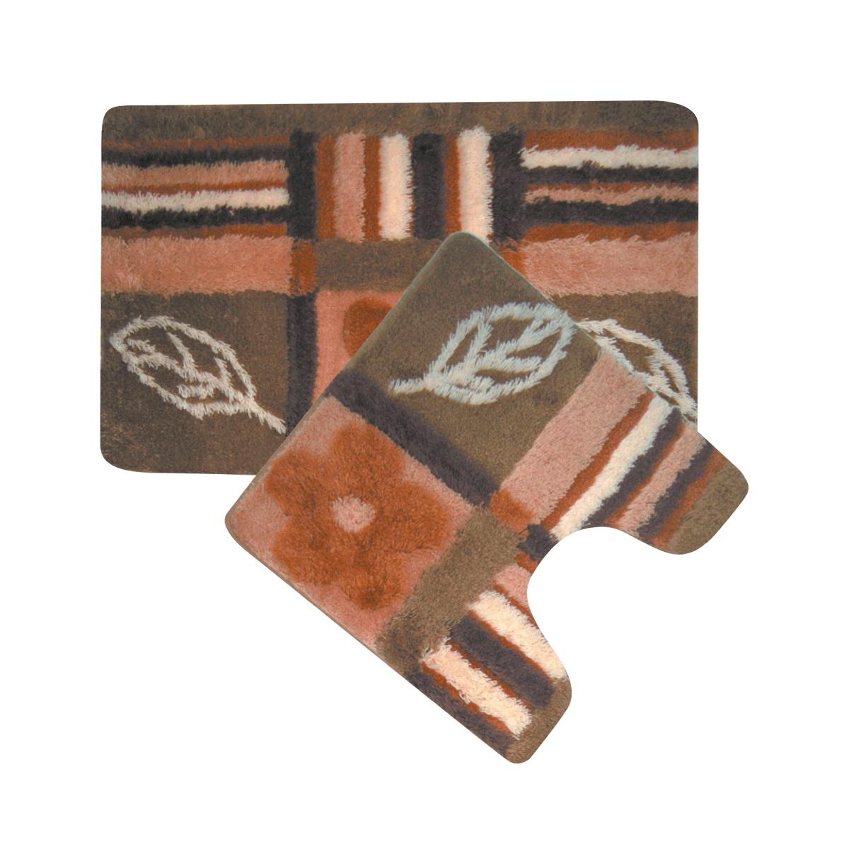 Набор ковриков для ванной Iddis Nature Solo, цвет: коричневый, 50 х 80 см, 50 х 50 см, 2 штMID130ASнабор из двух ковриков: для ванной 50*80 + для туалета 50*50, материал: 100% акрил, высота ворса от 1,5 до 2,5 см., латексная основа, упаковка ПП пакет,