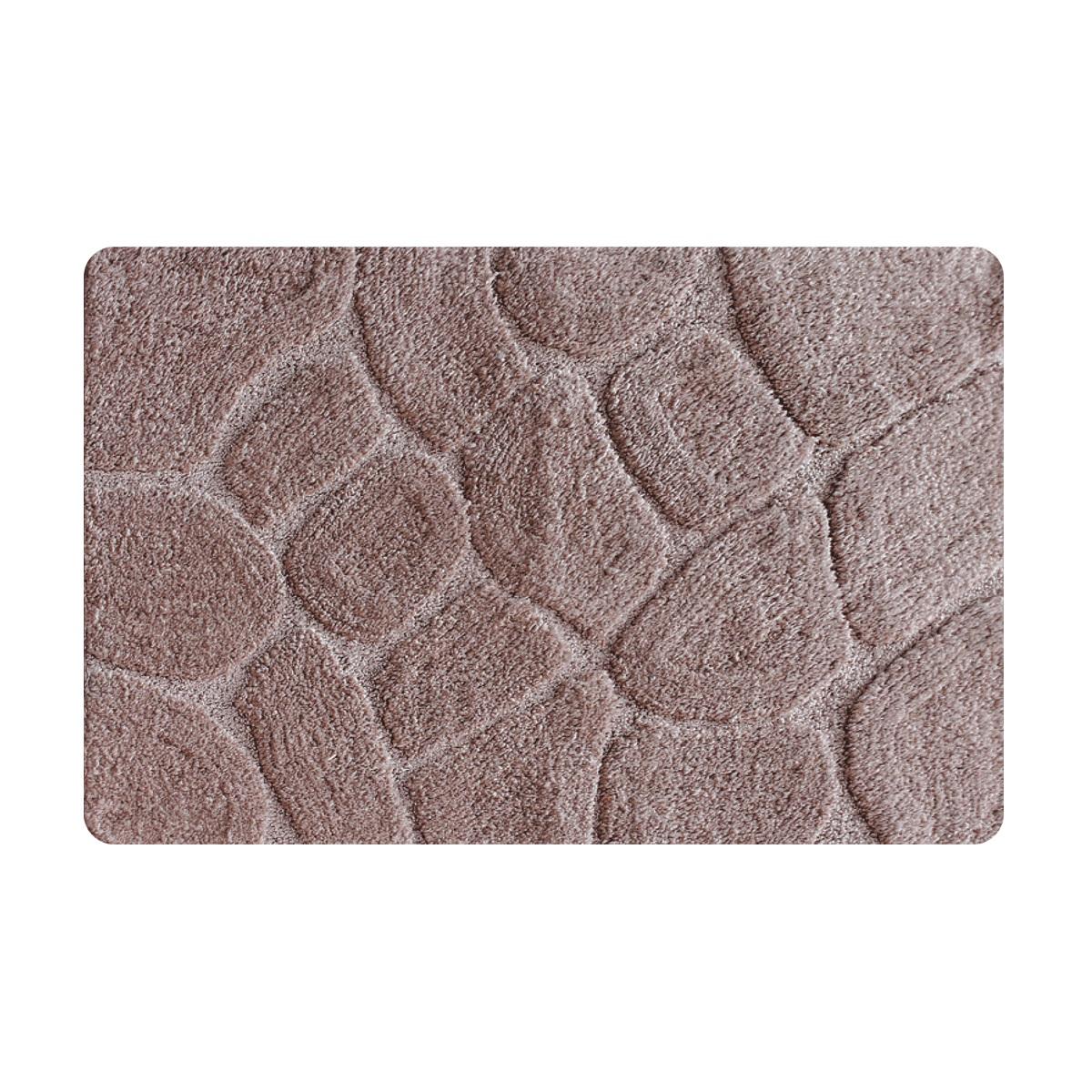 Коврик для ванной Iddis Grey stones, цвет: бежевый, 50 х 80 смMID200MКоврик для ванной комнаты Iddis выполнен из 100% полиэстера. Коврик имеет специальную латексную основу, благодаря которой он не скользит на напольных покрытиях в ванной, что обеспечивает безопасность во время использования. Коврик изготавливается по специальным технологиям машинного ручного тафтинга, что гарантирует высокое качество и долговечность.Высота ворса: 2,5 см.