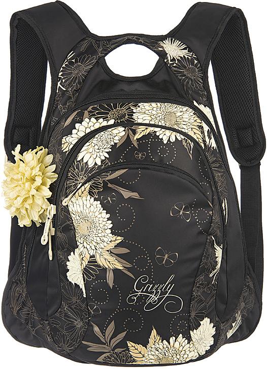 Рюкзак молодежный женский Grizzly, цвет: черный, светло-желтый, 10,5 л. RD-755-1/1RD-755-1/1Женский рюкзак с анатомической спинкой Grizzly изготовлен из полиэстера и имеет два отделения, карман на молнии на передней стенке, внутренний карман-пенал для карандашей. Рюкзак оснащен двумя широкими мягкими лямками регулируемой длины и удобной короткой ручкой.