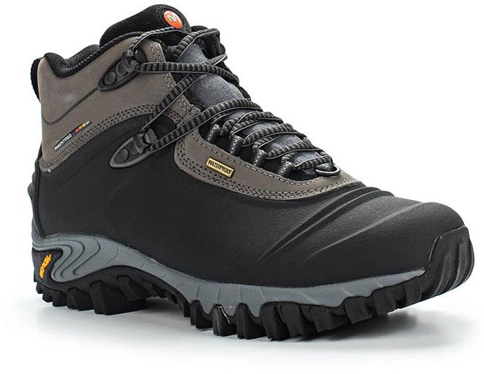 Ботинки мужские Merrell Thermo 6 Wtpf, цвет: черный, бежевый. 82727. Размер 11H (46)82727Утепленные мужские ботинки Merrell отлично подойдут для туризма. Модель, выполненная из высококачественных материалов, дополнена прострочкой и декоративным тиснением. Классическая шнуровка надежно зафиксирует изделие на ноге. Стелька и подкладка из текстиля, обеспечивают надежную термоизоляцию. Усиленный подносок и формованный задник из термополиуретана для дополнительной защиты и повышенной износостойкости. Подошва с рифлением обеспечивает отличное сцепление на любой поверхности. В таких ботинках вашим ногам будет уютно и комфортно.