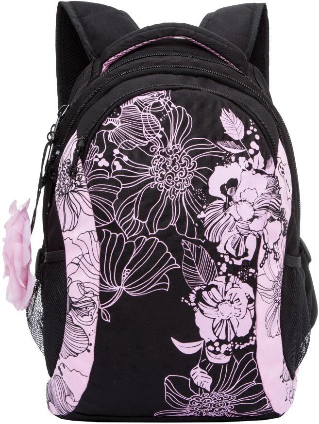Рюкзак молодежный женский Grizzly, цвет: черный, светло-розовый, 12,5 л. RD-755-2/1RD-755-2/1Женский рюкзак с укрепленной спинкой Grizzly изготовлен из полиэстера и имеет два отделения, карман на молнии на передней стенке, боковые карманы из сетки, внутренний карман на молнии, внутренний составной пенал-органайзер. Рюкзак оснащен двумя широкими мягкими лямками регулируемой длины и удобной короткой ручкой.