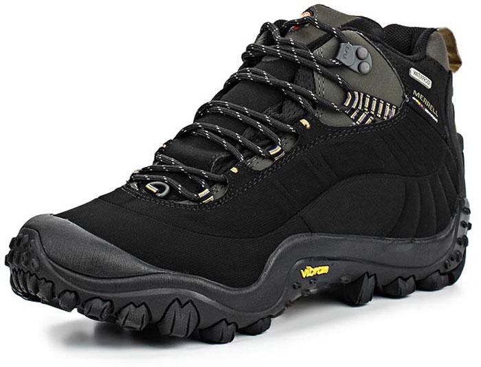 Ботинки мужские Merrell Cham Thermo 6 Wtpf Syn, цвет: черный, серый. 87695. Размер 8H (41)87695Утепленные мужские ботинки Merrell Cham Thermo 6 - отличный вариант для зимнего туризма. ВОДОНЕПРОНИЦАЕМАЯ МЕМБРАНА. Мембрана M-Select DRY защищает от влаги и обеспечивает оптимальный микроклимат. СЦЕПЛЕНИЕ С ПОВЕРХНОСТЬЮ. Подошва Vibram выполнена из резины с повышенным сцеплением. СОХРАНЕНИЕ ТЕПЛА. Утеплитель Thinsulate, флисовая подкладка и съемная стелька с технологией Active Heat обеспечивают надежную термоизоляцию. АМОРТИЗАЦИЯ. Промежуточная подошва In-Board из ЭВА разной плотности и технология Air Cushion обеспечивают превосходную амортизацию.
