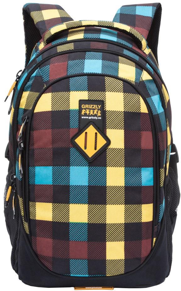 Рюкзак молодежный мужской Grizzly, цвет: желтый, черный, синий, 17,5 л. RU-707-7/10RU-707-7/10Рюкзак с жесткой анатомической спинкой Grizzly изготовлен из полиэстера и имеет три отделения, боковые карманы из сетки, внутренний карман, внутренний подвесной карман на молнии, внутренний составной пенал-органайзер. Рюкзак оснащен двумя широкими мягкими лямками регулируемой длины и удобной короткой ручкой.
