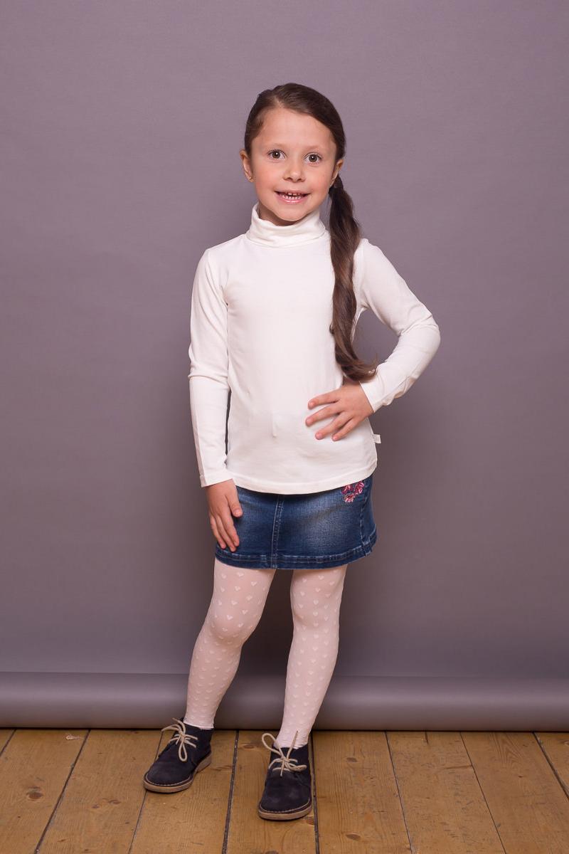 Водолазка для девочки Sweet Berry, цвет: слоновая кость. 734160. Размер 122734160Классическая хлопковая водолазка из трикотажной ткани для девочки. Воротник-стойка.