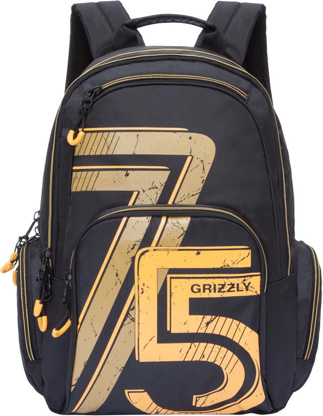 Рюкзак молодежный мужской Grizzly, цвет: черный, 16 л. RU-713-3/4RU-713-3/4Рюкзак с жесткой анатомической спинкой Grizzly изготовлен из полиэстера и имеет два главных отделения, карман на молнии на передней стенке, объемный карман на молнии на передней стенке, объемные боковые карманы на молнии, внутренний карман-пенал для карандашей.Рюкзак оснащен двумя широкими мягкими лямками регулируемой длины и удобной короткой ручкой.