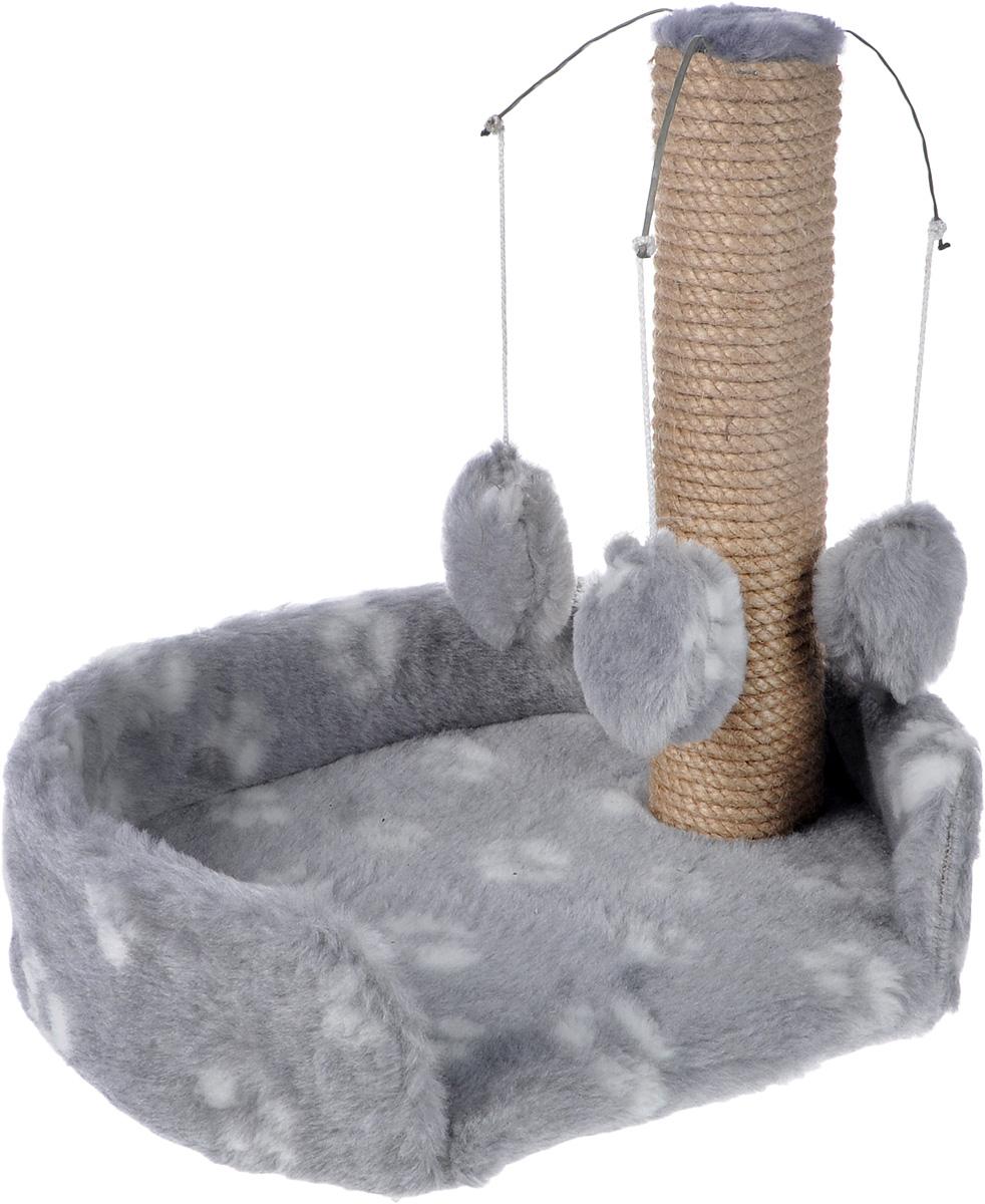 Когтеточка для котят  Меридиан , с лежанкой, цвет: светло-серый, белый, 34 х 26 х 34 см