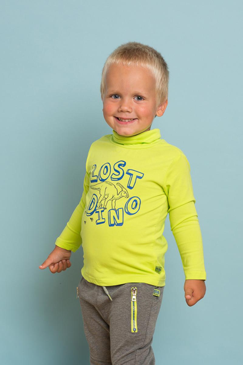 Водолазка для мальчика Sweet Berry Baby, цвет: светло-зеленый. 731024. Размер 80731024Яркая трикотажная водолазка для мальчика салатового цвета декорированная оригинальным принтом. Воротник-стойка.