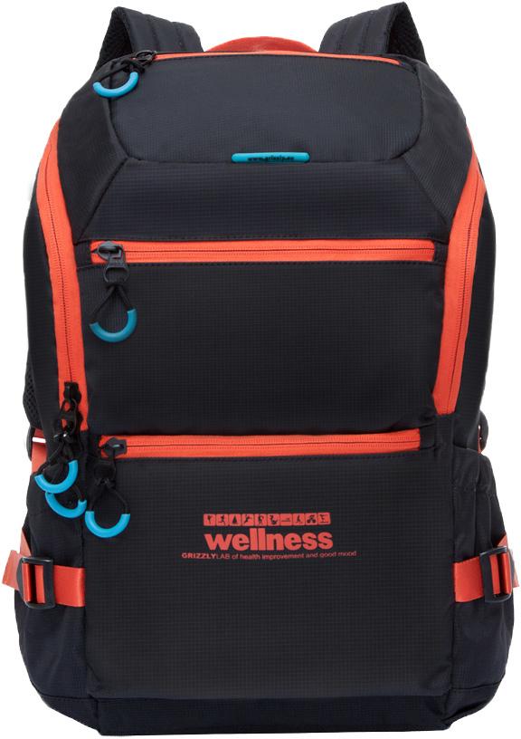 """Рюкзак молодежный мужской """"Grizzly"""", цвет: черный, оранжевый, 18,5 л. RU-710-2/4"""