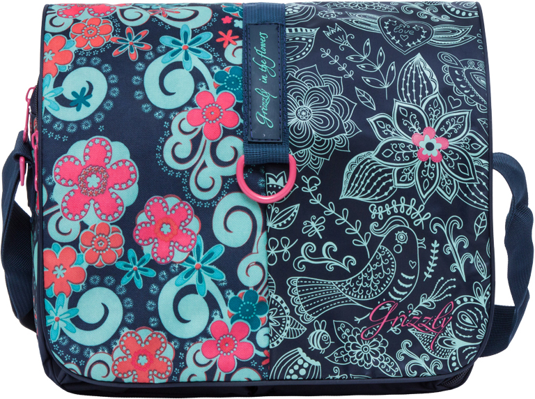 Сумка женская Grizzly, цвет: темно-синий, мятный, 9,5 л. MD-621-2/4MD-621-2/4Молодежная женская сумка Grizzly изготовлена из плотного текстиля. Сумка имеет два главных отделения, закрывающихся клапаном на липучке, два передних кармана, объемный передний карман на молнии, плоский передний карман на молнии, внутренний карман на молнии. Сумка оснащена регулируемым плечевым ремнем.