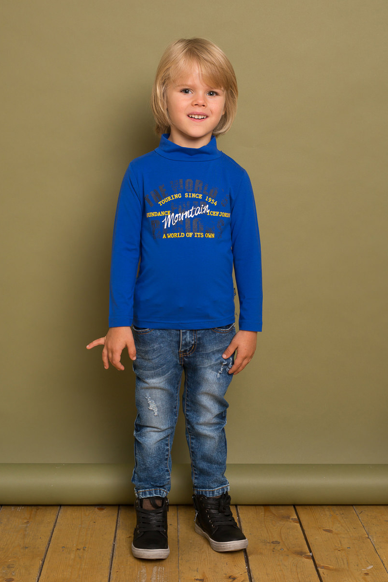 Водолазка для мальчика Sweet Berry Baby, цвет: синий. 731051. Размер 86731051Трикотажная водолазка Sweet Berry Baby для мальчика оформлена оригинальным текстовым принтом. Модель с воротником-стойкой и длинными рукавами.