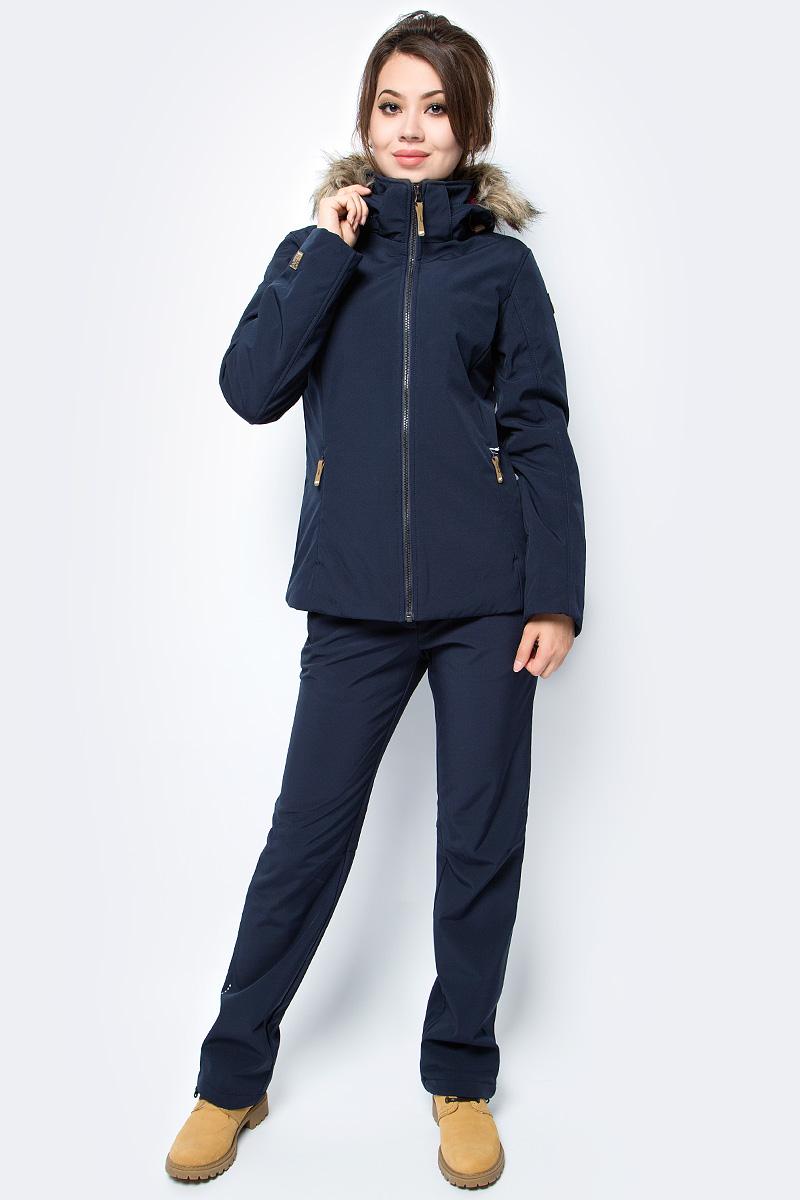 Куртка женская Icepeak, цвет: темно-синий. 854845682IV_390. Размер 38 (44)854845682IV_390Куртка женская Icepeak выполнена из полиэстера и эластана. Модель с длинными рукавами и капюшоном застегивается на застежку-молнию.