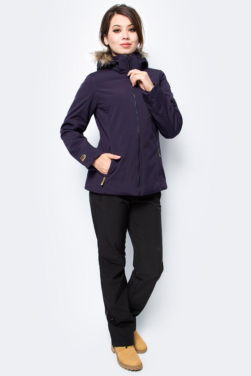 Куртка женская Icepeak, цвет: фиолетовый. 854845682IV_790. Размер 42 (48)854845682IV_790Куртка женская Icepeak выполнена из полиэстера и эластана. Модель с длинными рукавами и капюшоном застегивается на застежку-молнию.