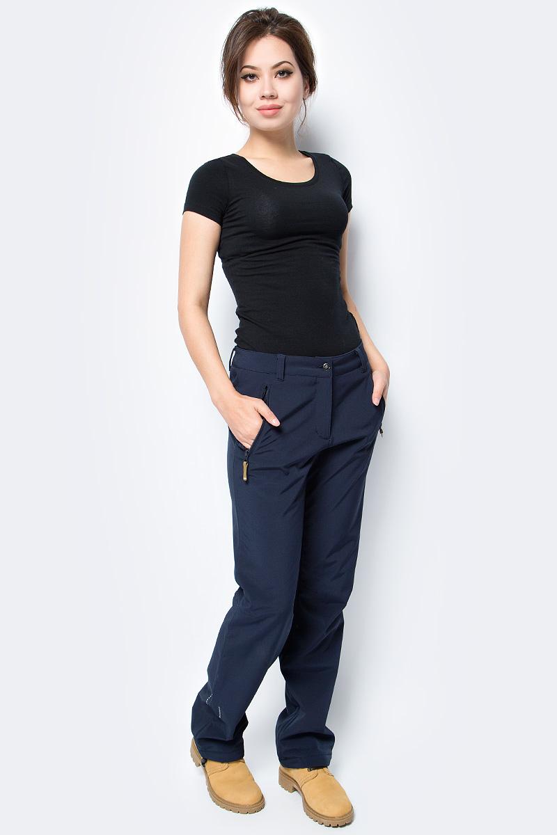 Брюки женские Icepeak, цвет: темно-синий. 854020542IV_390. Размер 42 (48)854020542IV_390Брюки женские Icepeak выполнены из полиэстера и эластана. Модель застегивается на комбинированную застежку и имеет шлевки для ремня.