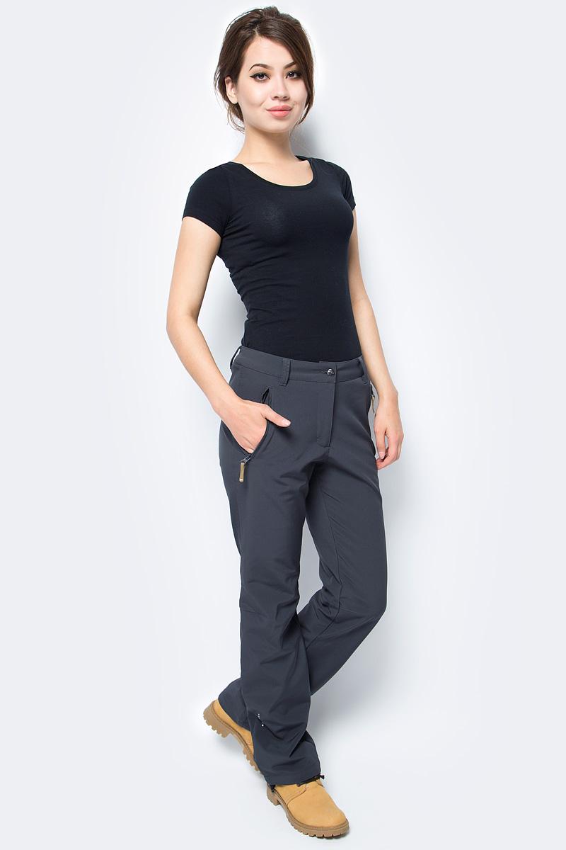 Брюки женские Icepeak, цвет: темно-серый. 854020542IV_290. Размер 40 (46)854020542IV_290Брюки женские Icepeak выполнены из полиэстера и эластана. Модель застегивается на комбинированную застежку и имеет шлевки для ремня.