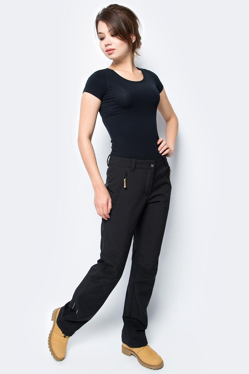 Брюки женские Icepeak, цвет: черный. 854020542IV_990. Размер 40 (46)854020542IV_990Брюки женские Icepeak выполнены из полиэстера и эластана. Модель застегивается на комбинированную застежку и имеет шлевки для ремня.