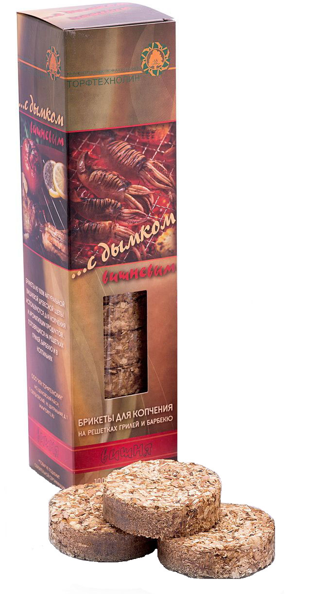 Набор брикетов для копчения Торфтехнолин Вишня, 15 штБДК вишНабор Торфтехнолин Вишня состоит из 15 круглых брикетов для копчения на решетках гриль и барбекю. Брикеты изготовлены из 100% натуральной яблоневой древесной щепы. Используются для копчения и ароматизации продуктов, готовящихся на решетках гриль, барбекю и в коптильнях. Брикеты необходимо помещать на решетку или в тлеющие угли за 10-15 минут до готовности продуктов. Комплектация: 15 шт. Вес 15 брикетов: 400 г.