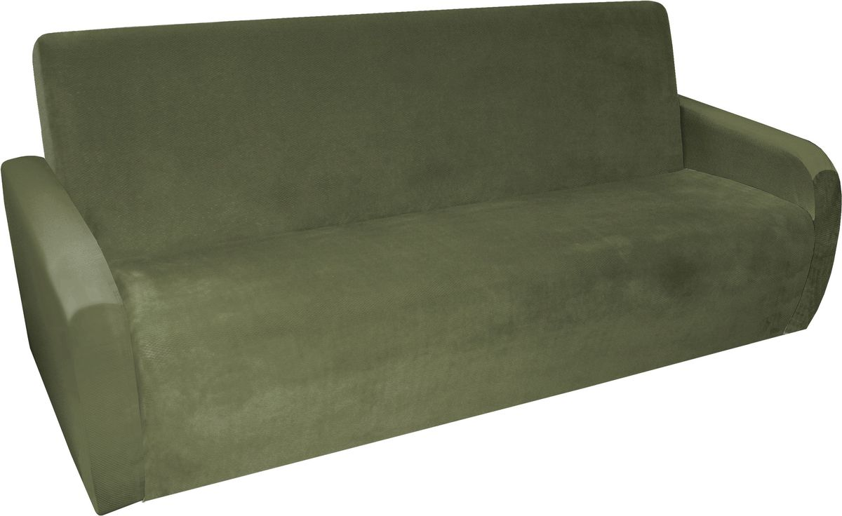 Чехол на трехместный диван-книжку Медежда Бирмингем, цвет: оливковый1409031108002Модель чехла специально разработана для дивана-книжки. Можно раскладывать диван при этом не снимать чехол.В комплект входят два подлокотника, которые не пришиты к основному чехлу, поэтому возможно использование чехла для дивана без подлокотников.Подходит на диваны со следующими размерами: длина спального места от 170 см до 210 см, ширина спального места от 120 см до 160 см.