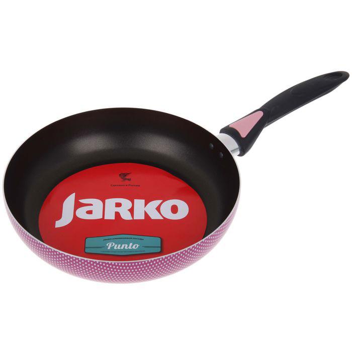Сковорода Jarko Punto, с антипригарным порытием, цвет: малиновый. Диаметр 26 смPunto-126-10Сковорода Jarko Punto выполнена из алюминия с 5-слойным антипригарным покрытием, которое не даст пище пригореть. Внешнее декоративное покрытие выдерживает высокую температуру. Прочный алюминиевый корпус обеспечивает равномерный нагрев. Надежно приклепанная бакелитовая ручка гарантирует безопасность и удобство использования. Сковорода Jarko Punto - это блестящее сочетание ретро-стиля и современных технологий. Сочный цвет наружной окраски с принтом в белый горошек будет вызывать восхищение и, конечно, прилив вдохновения. Можно использовать на газовых, стеклокерамических и электрических плитах. Можно мыть в посудомоечной машине.