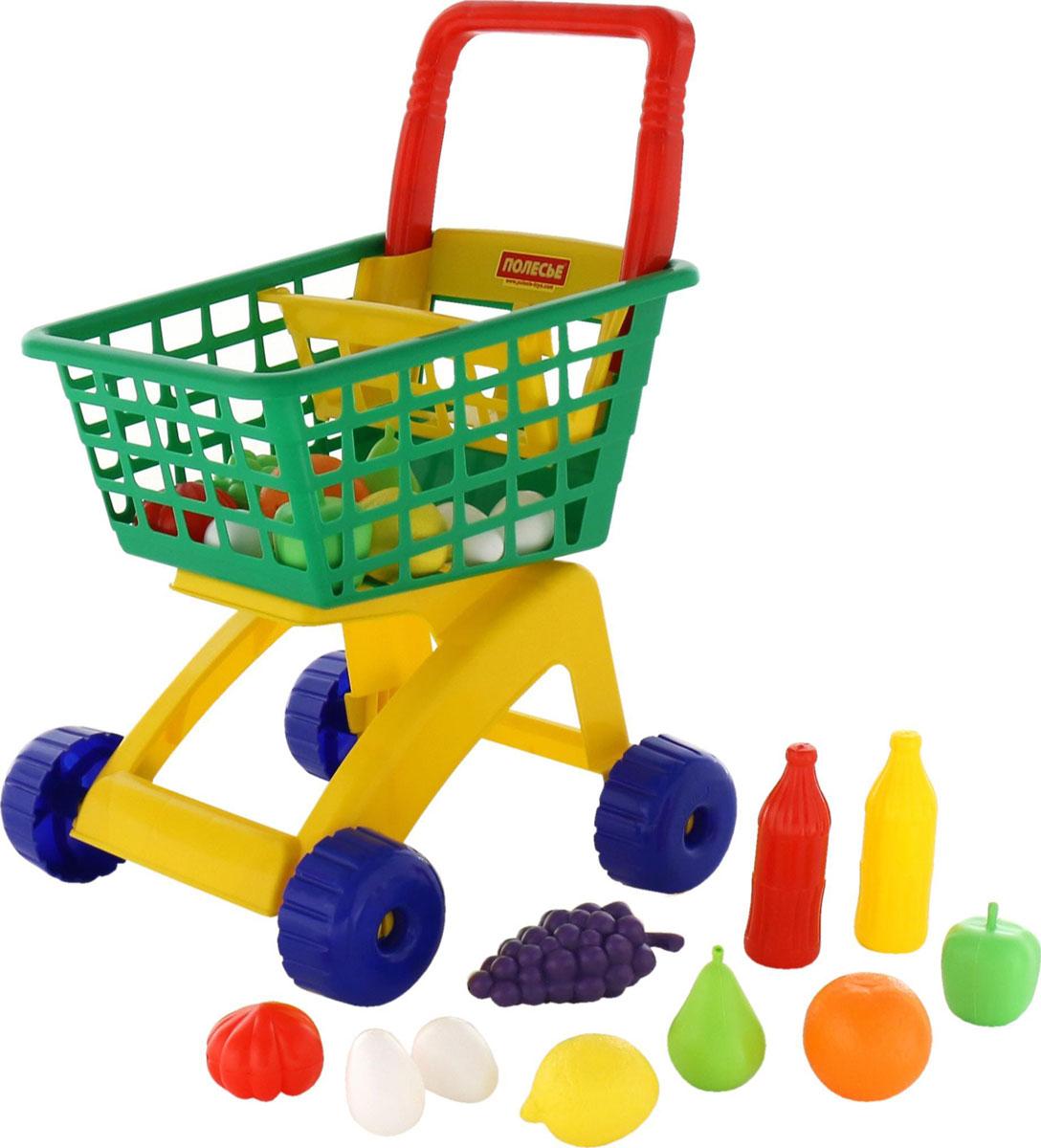 Полесье Игрушечная тележка для магазина с набором продуктов №6 цвет тележки зеленый красный желтый - Сюжетно-ролевые игрушки