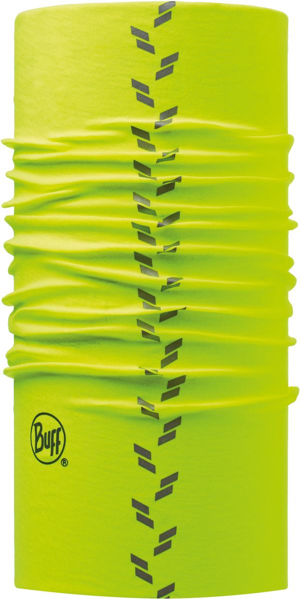 Бандана Buff Reflective, цвет: салатовый. 111392.00. Размер универсальный111392.00Бандана Buff Reflective - это оригинальный, мультифункциональный, бесшовный головной убор - удобный и комфортный для любого вида активного отдыха и спорта. Оригинальный, потому что Buff был и является первым в мире брендом мультифункциональных, бесшовных и универсальных головных уборов. Мультифункциональный, потому что их можно носить самыми разными способами: как шарф, как шапку, как балаклаву, косынку, бандану, маску, напульсник и многими другими - решает Ваша фантазия! Универсальный головной убор, который можно носить более чем двенадцатью способами, который можно использовать при занятии любым видом спорта, езде на велосипеде и мотоцикле, катаясь или бегая на лыжах, и даже как аксессуар в городской одежде. Бесшовный, благодаря эластичности, позволяющей использовать эти головные уборы как угодно и не беспокоиться о том, что кожа может быть натерта или раздражена швами.