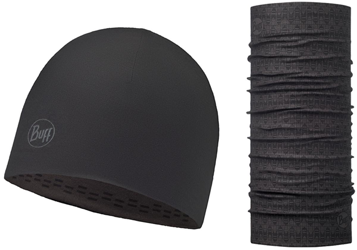 Комплект Buff Reversible: шапка, шарф, цвет: антрацитовый. 116126.901.10.00. Размер универсальный116126.901.10.00Комплект Buff Reversible состоящий из шапки и шарфа - это оригинальный, мультифункциональный, бесшовный головной комплект - удобный и комфортный для любого вида активного отдыха и спорта. Оригинальный, потому что Buff был и является первым в мире брендом мультифункциональных, бесшовных и универсальных головных уборов.