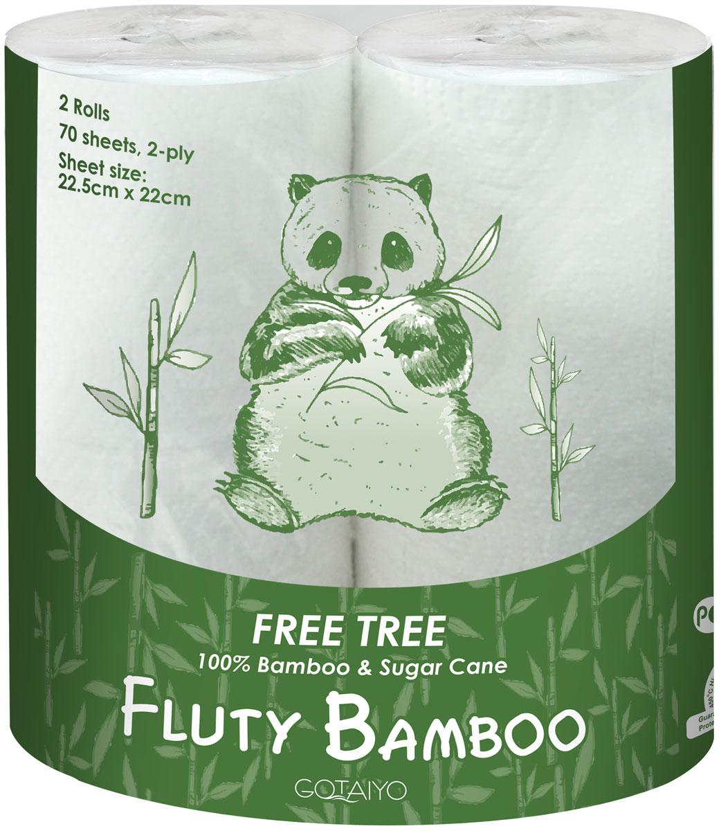 Полотенца бумажные Gotaiyo Fluty, двухслойные, цвет: белый, 2 рулона20145gtДвухслойные бумажные полотенца Fluty: - изготовлены из бамбуковой целлюлозы с добавлением волокон сахарного тростника,- не содержит ОВА (флуоресцентных осветлителей),- первичная обработка бумаги при температуре 450°С - гарантия гигиены.