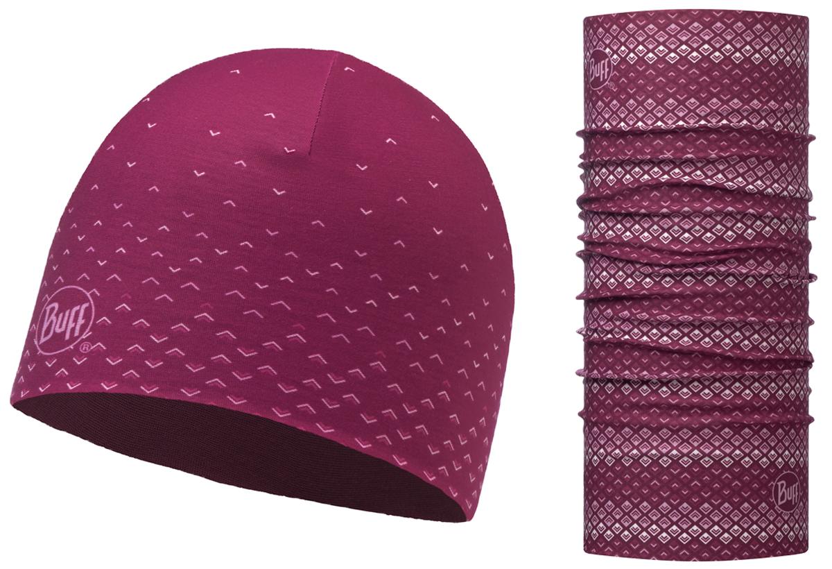 Комплект Buff Reversible: шапка, шарф, цвет: фиолетовый. 116127.629.10.00. Размер универсальный116127.629.10.00Комплект Buff Reversible состоящий из шапки и шарфа - это оригинальный, мультифункциональный, бесшовный головной комплект - удобный и комфортный для любого вида активного отдыха и спорта. Оригинальный, потому что Buff был и является первым в мире брендом мультифункциональных, бесшовных и универсальных головных уборов.