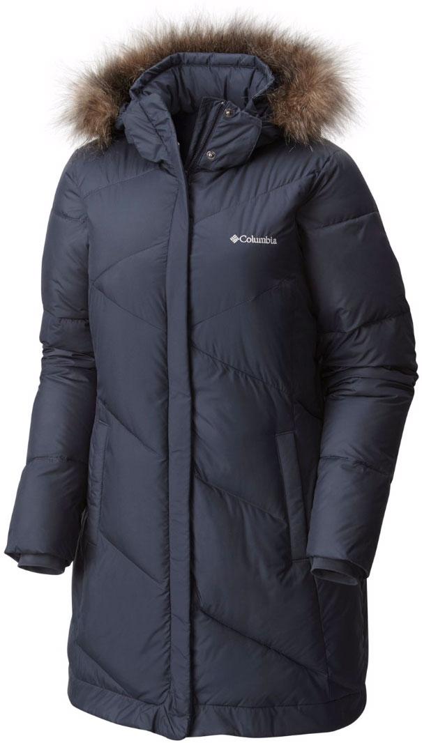 Пальто женское Columbia Snow Eclipse Mid Jacket Long W, цвет: темно-синий. 1557371-419. Размер XL (50)1557371-419Женское зимнее пальто Snow Eclipse Mid от Columbia выполнено из водоотталкивающей ткани, которая защищает изделие от грязи и мокрого и снега. Утеплитель - искусственный пух обеспечивает максимальную легкость изделия. Отстегивающийся регулируемый капюшон с меховой отделкой, внутренние эластичные трикотажные манжеты обеспечивают дополнительное тепло и комфорт в холодную зимнюю погоду. Пальто застегивается на застежку-молнию и на ветро-защитный клапан. По бокам предусмотрены карманы на молниях.