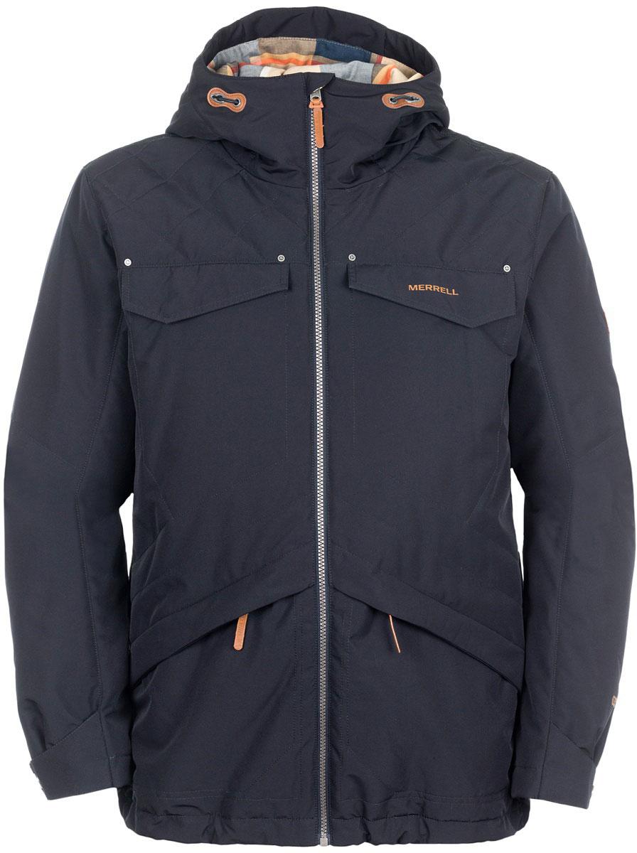 Куртка мужская Merrell Saxones, цвет: черный. A18AMRJAM04-99. Размер 52A18AMRJAM04-99Удобная куртка Merrell Saxones пригодится тем, кто собирается в путешествие. Модель прямого кроя с капюшоном и воротником-стойкой, надежно защищающими от продувания, изготовлена из высококачественного материала по технологии M Select Shield, которая защитит изделие от влаги и грязи. Куртка застегивается на молнию и дополнена четырьмя наружными и одним внутренним карманами. Имеется внутренняя регулируемая утяжка по низу изделия. Капюшон защитит от ветра и осадков, а регулируемые манжеты помогут сохранить тепло.