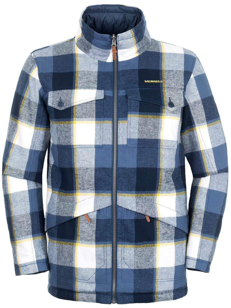 Куртка мужская двусторонняя Merrell Sakae, цвет: синий. A18AMRJAM08-M2. Размер 46A18AMRJAM08-M2Удобная двусторонняя куртка Merrell Sakae пригодится тем, кто собирается в путешествие. Модель прямого кроя с воротником-стойкой, надежно защищающим от продувания, изготовлена из высококачественного материала и застегивается на молнию. Куртка дополнена 2 накладными карманами с клапанами на пуговицах и двумя карманами на молниях с одной стороны и двумя накладными и прорезным карманами - с другой стороны.