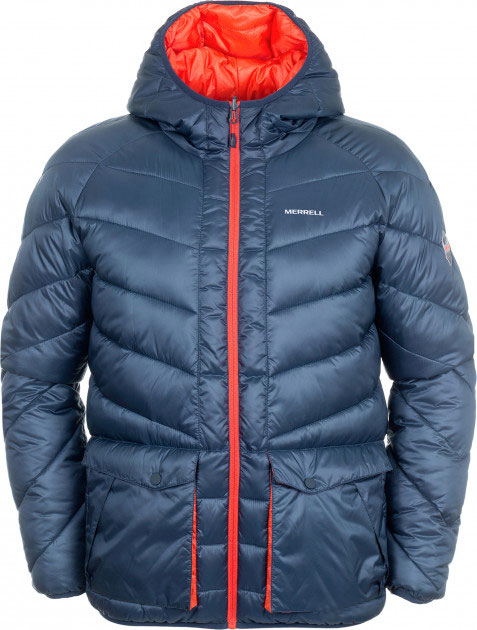 Куртка мужская двусторонняя Merrell Bosphorus, цвет: темно-синий. A18AMRJAM12-Z4. Размер 50A18AMRJAM12-Z4Утепленная двусторонняя куртка Merrell Bosphorus - отличный выбор для походов. Модель прямого кроя с капюшоном и воротником-стойкой, защищающими от продувания, изготовлена из высококачественного материала с утеплителем из микроволокна, который обеспечивает превосходную защиту от холода. Куртка застегивается на молнию и с одной стороны дополнена двумя накладными карманами с клапанами на кнопках, а с другой - двумя прорезными карманами на молниях. Капюшон защитит от ветра и осадков, а регулируемые манжеты помогут сохранить тепло. Светоотражающие элементы позволят вам стать заметнее в темное время суток. Двусторонняя куртка позволяет легко и быстро менять свой образ. Рекомендуемый температурный режим для данной модели до -10°С, исходя из расчета на среднюю физическую активность - ходьбу 4 км/ч.