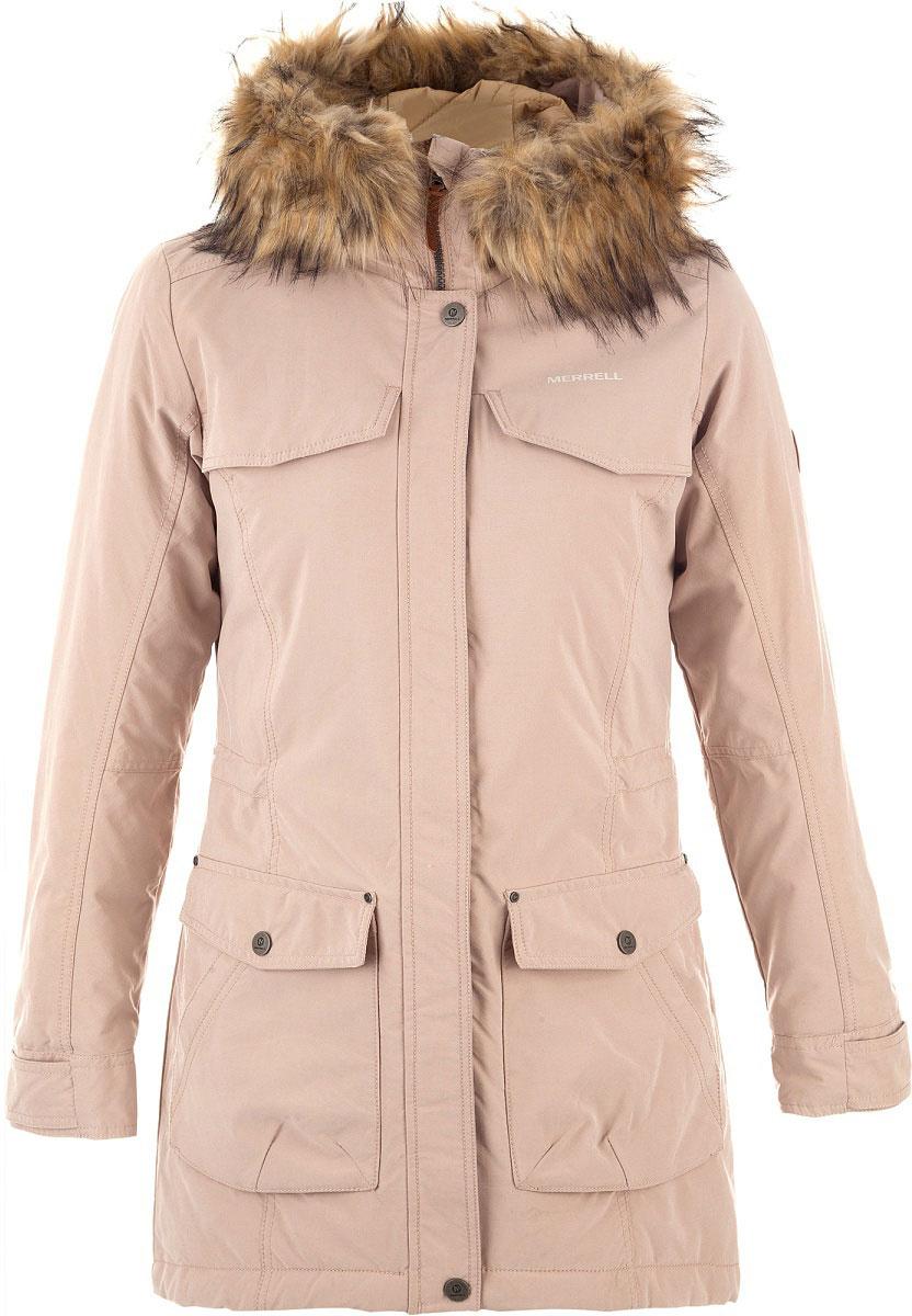 Куртка удлиненная женская Merrell Thessalia, цвет: светло-розовый. A18AMRJAW04-X0. Размер 48A18AMRJAW04-X0Удлиненная женская куртка-парка Merrell Thessalia станет отличным выбором для путешествий. Модель приталенного кроя с капюшоном и воротником-стойкой, надежно защищающими от продувания, изготовлена из высококачественного материала по технологии M Select Shield, которая защищает ткань от воды и грязи. Показатели мембраны составляют 5000 мм и 5000 г/м2/24ч. Куртка застегивается на молнию с ветрозащитной планкой на кнопках и дополнена четырьмя наружными и одним внутренним карманами. Регулируемые манжеты обеспечивают защиту от холода. Съемная отделка из искусственного меха крепится при помощи кнопок.Рекомендуемый температурный режим для данной модели до 0°С, исходя из расчета на среднюю физическую активность - ходьбу 4 км/ч.