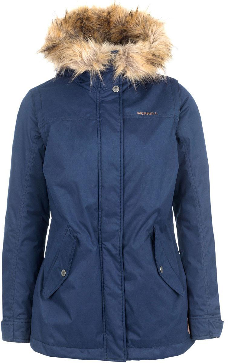 Куртка-жилет женская Merrell Aetolia, цвет: синий. A18AMRJAW05-Z3. Размер 44A18AMRJAW05-Z3Утепленная женская куртка Merrell Aetolia - удачный вариант для путешествий. Модель прямого кроя с капюшоном и воротником-стойкой, надежно защищающими от продувания, изготовлена из высококачественного материала по технологии M Select Shield, которая защитит материал от влаги и грязи. Куртка застегивается на молнию с ветрозащитной планкой на кнопках и дополнена двумя карманами с клапанами на кнопках. Капюшон и линия талии оснащены системой регулировки. Рукава легко отстегиваются, и куртка превращается в жилетку. Съемная отделка из искусственного меха крепится при помощи кнопок.Рекомендуемый температурный режим для данной модели до -10°С, исходя из расчета на среднюю физическую активность - ходьбу 4 км/ч.