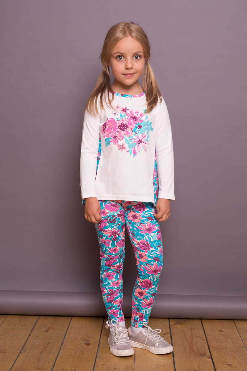 Леггинсы для девочки Sweet Berry, цвет: бирюзовый, розовый. 734016. Размер 128734016Яркие леггинсы для девочки от Sweet Berry выполнены из трикотажного полотна с цветочным печатным рисунком. Мягкий эластичный пояс.