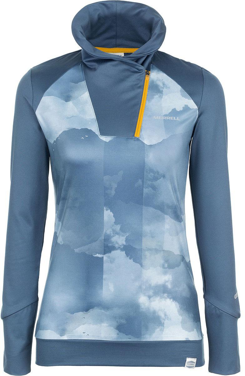 Лонгслив женский Merrell Liguria, цвет: синий. A18AMRTSW02-M6. Размер 48A18AMRTSW02-M6Женский лонгслив Merrell Liguria отлично подойдет для походов и для отдыха на природе. Модель приталенного кроя с воротником-стойкой, застегивающимся на молнию, изготовлена из ткани M Select WICK, которая отводит влагу от тела и быстро высыхает, что позволяет дольше сохранить ощущение комфорта. Манжеты длинных рукавов с отверстиями для пальцев помогут сохранить руки в тепле без использования перчаток.