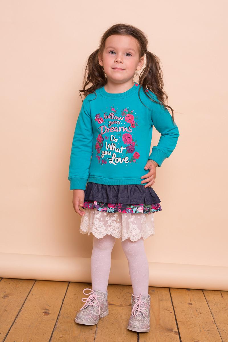 Фото Платье для девочки Sweet Berry Baby, цвет: бирюзовый. 732011. Размер 80