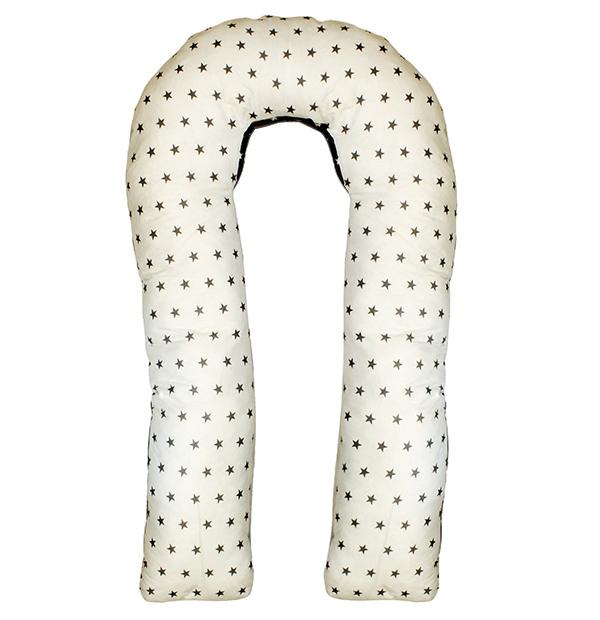 Body Pillow Подушка для беременных U-образная с наполнителем холлофайбер двухстороняя с белыми звездами на сером и серыми звездами на белом фоне - Подушки для беременных и кормящих