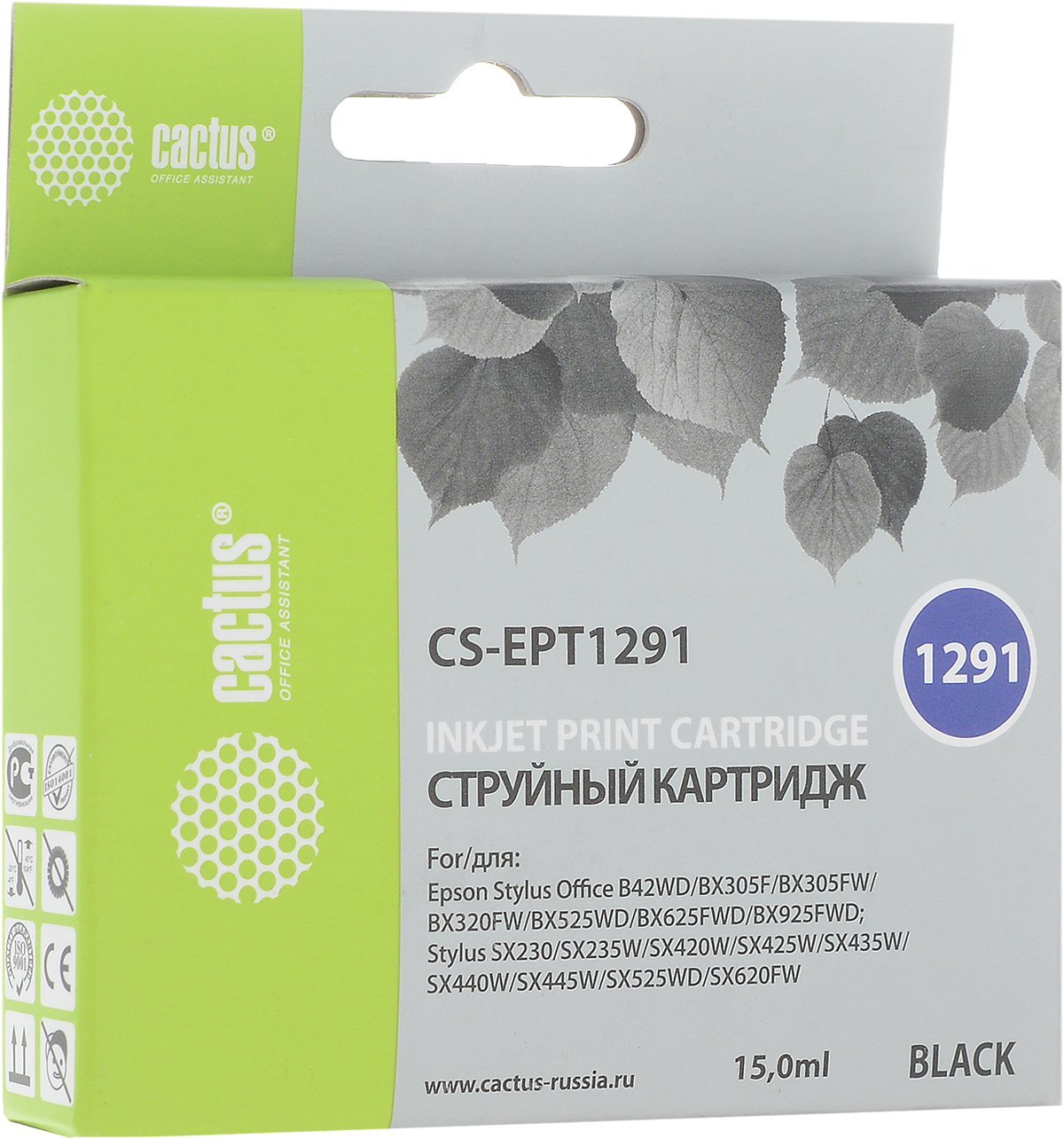 Cactus CS-EPT1291, Black струйный картридж для Epson Stylus Office B42/BX305/BX305F/BX320 картридж для принтера и мфу cactus cs ept0481 black