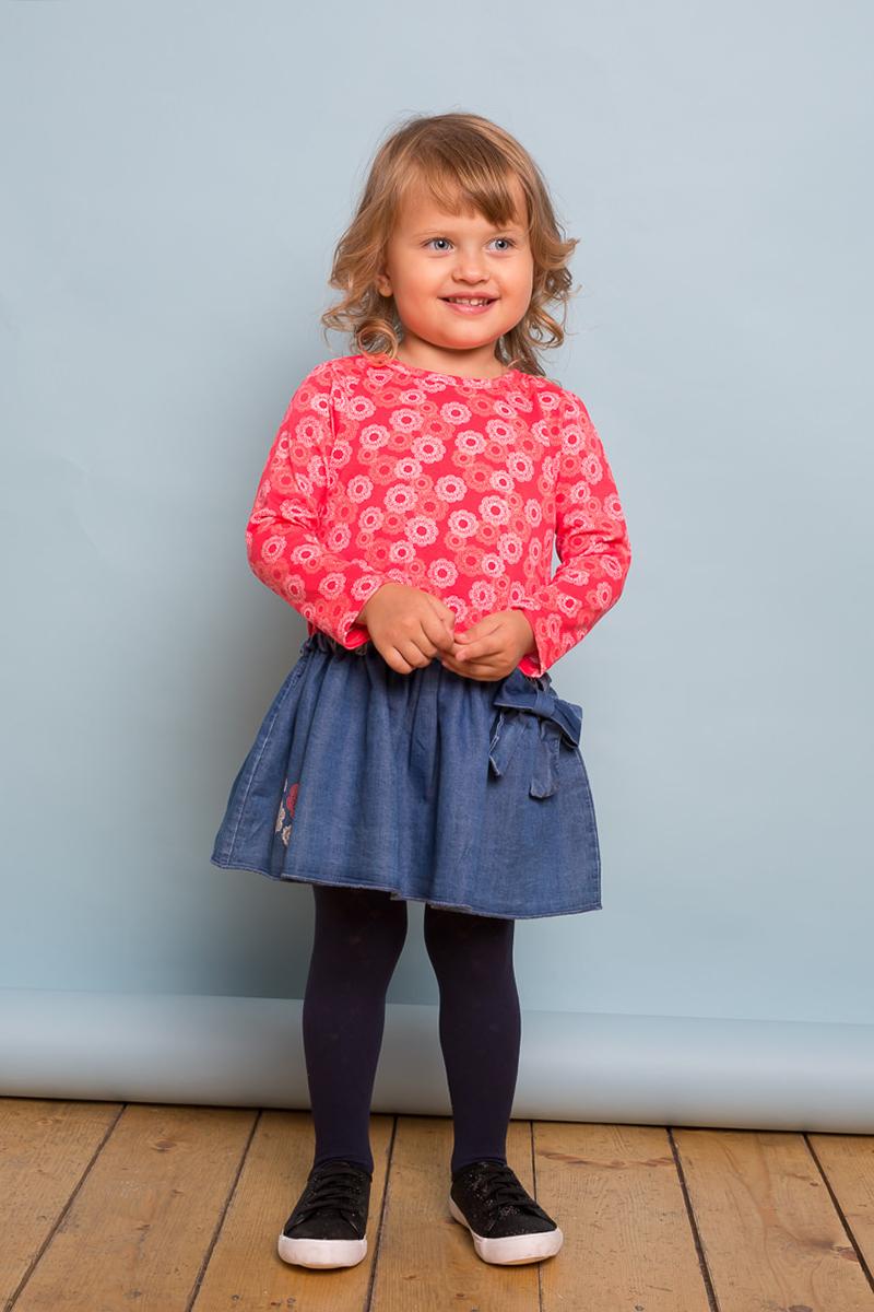 Платье для девочки Sweet Berry Baby, цвет: коралловый. 732135. Размер 80732135Платье для девочки из мягкого комбинированного трикотажного полотна. Низ изделия декорирован цветочной вышивкой и бантиком. Застежка на пуговке на спинке.