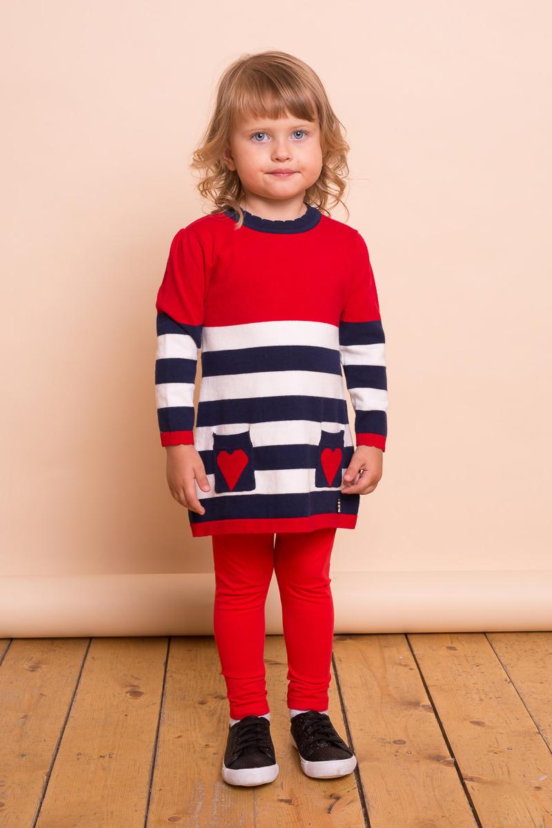 Платье для девочки Sweet Berry Baby, цвет: красный, темно-синий, белый. 732029. Размер 92732029Милое платье для девочки Sweet Berry Baby выполнено из вязанного трикотажа и дополнено двумя накладными кармашками. Модель с круглым вырезом горловины и длинными рукавами оформлена полосатым рисунком.