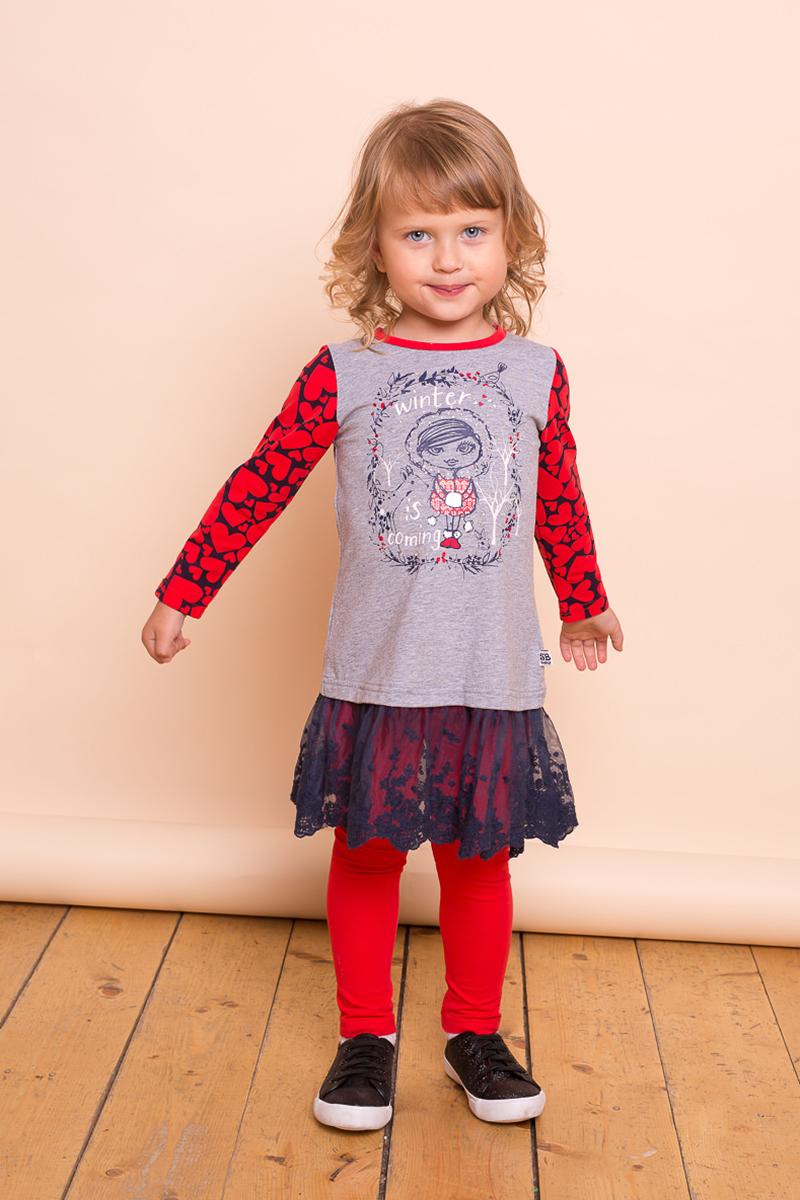 Платье для девочки Sweet Berry Baby, цвет: серый. 732038. Размер 86732038Очаровательное платье Sweet Berry Baby для девочки выполнено из эластичного хлопка. Модель с длинными рукавами и круглым вырезом горловины дополнена гипюровой юбкой. Рукава оформлены принтом в виде сердечек. Спинка декорирована текстильными бантиками.