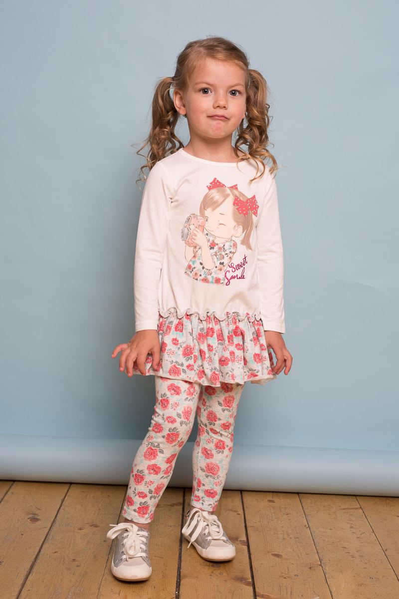 Платье для девочки Sweet Berry Baby, цвет: слоновая кость. 732102. Размер 92732102Трикотажное платье для девочки с длинным рукавом из мягкого хлопкового полотна декорированное милым принтом и контрастным воланом по низу изделия.