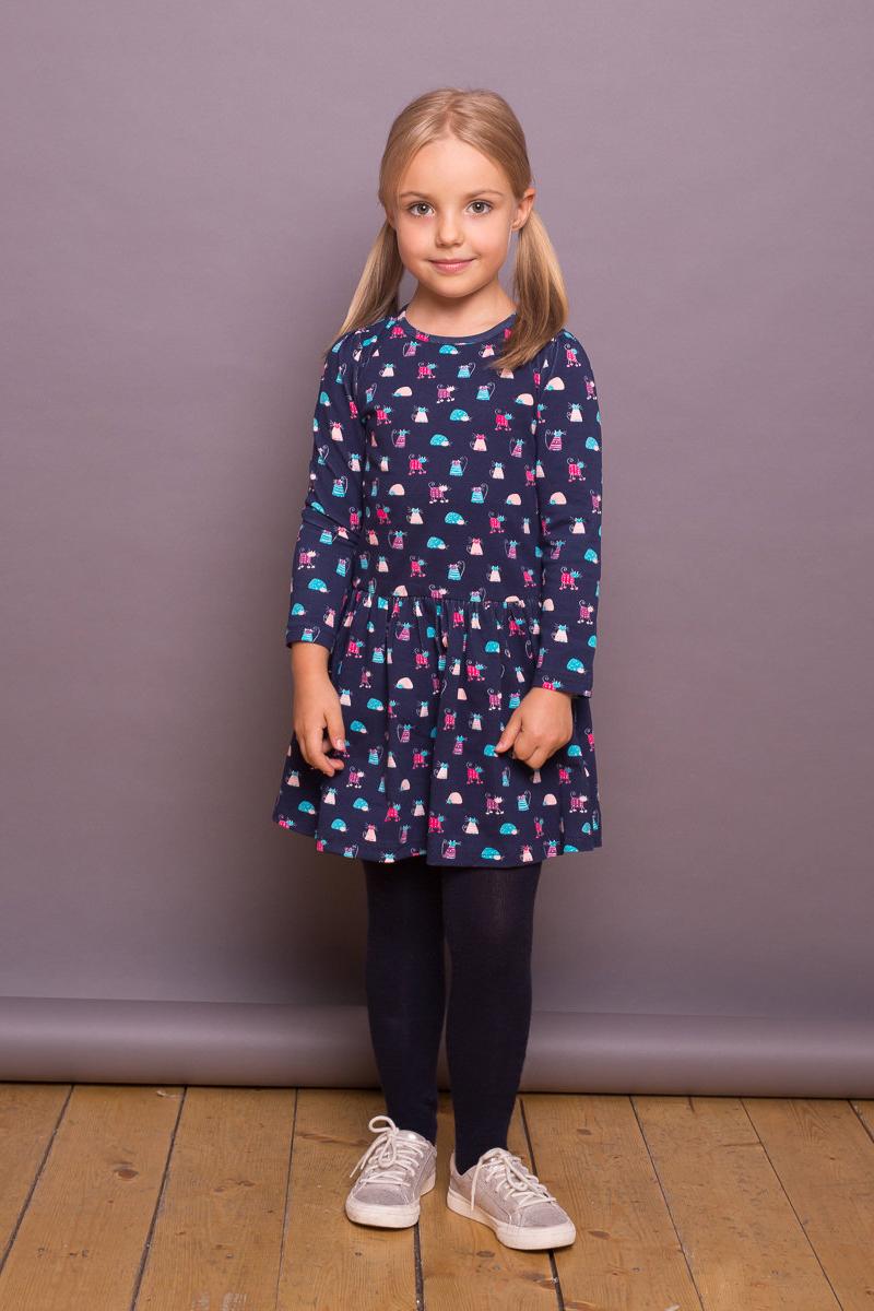 Платье для девочки Sweet Berry, цвет: темно-синий. 734165. Размер 98734165Платье для девочки из трикотажного полотна темно-синего цвета декорированное ярким принтом. Длинный рукав.