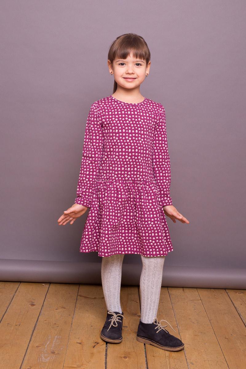 Платье для девочки Sweet Berry, цвет: лиловый. 734162. Размер 122734162Платье для девочки от Sweet Berry выполнено из трикотажного полотна, декорированного принтом. Модель с длинными рукавами застегивается на пуговку на спинке.