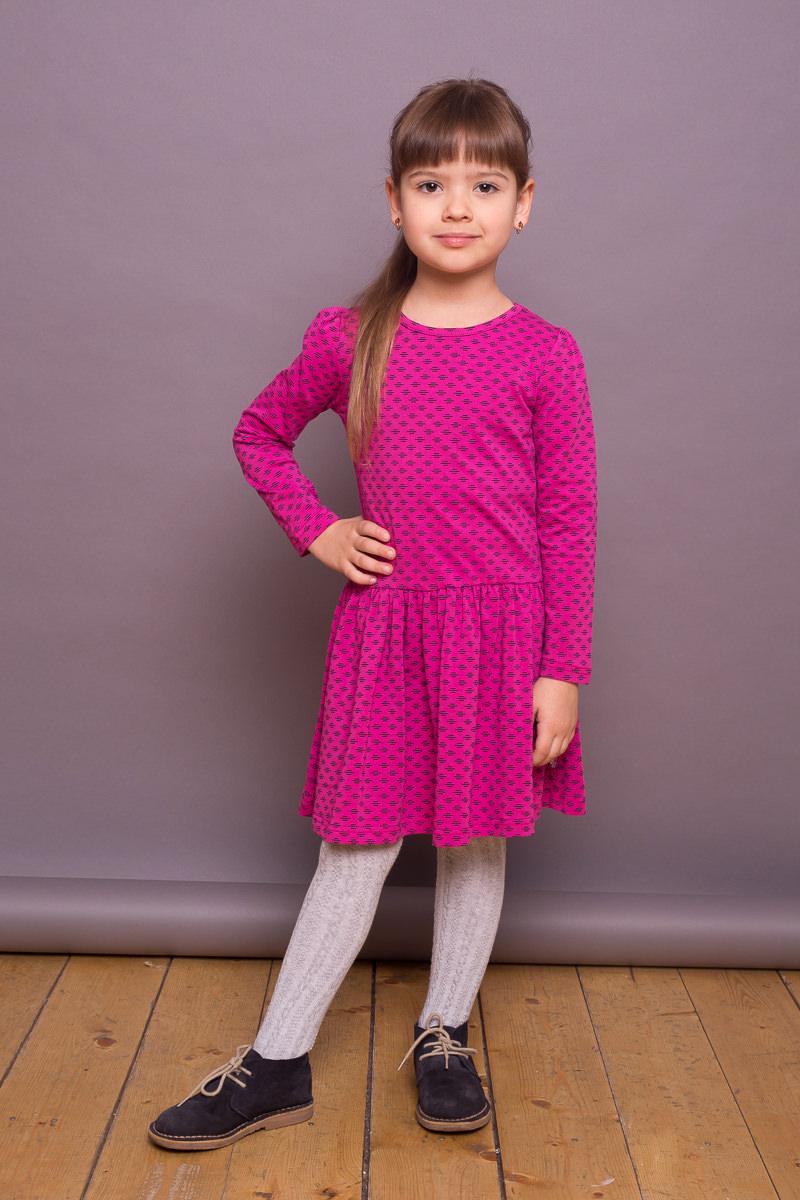 Платье для девочки Sweet Berry, цвет: фуксия. 734164. Размер 98734164Яркое платье для девочки из трикотажного полотна декорированное принтом. Длинный рукав.