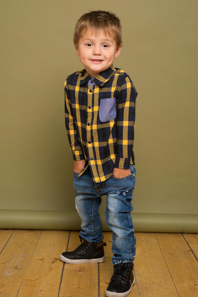 Рубашка для мальчика Sweet Berry Baby, цвет: желтый, темно-синий. 731048. Размер 80731048Стильная хлопковая рубашка Sweet Berry Baby выполнена из байковой ткани в клетку и дополнена накладным карманом на груди. Модель с отложным воротником застегивается на кнопки.
