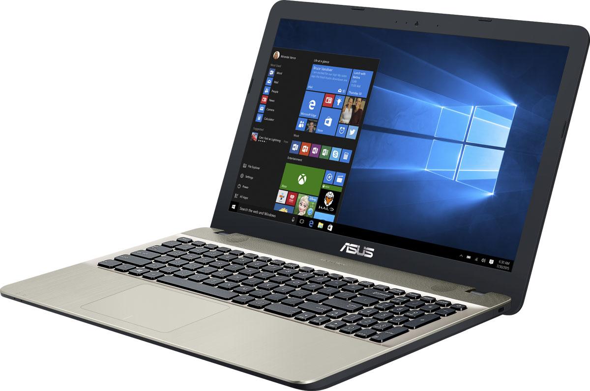 ASUS VivoBook Max X541NA, Chocolate Black (X541NA-GQ283T)X541NA-GQ283TASUS VivoBook Max X541NA - это современный ноутбук для ежедневного использования как дома, так и в офисе. В его аппаратную конфигурацию входят современный процессор Intel Pentium N4200, 4 гигабайта оперативной памяти, которые обеспечат высокую скорость работы любых приложений.Для быстрого обмена данными с периферийными устройствами VivoBook Max X541NA предлагает высокоскоростной порт USB 3.0 (5 Гбит/с), выполненный в виде обратимого разъема Type-C. Его дополняют традиционные разъемы USB 2.0 и USB 3.0. В число доступных интерфейсов также входят HDMI и VGA, которые служат для подключения внешних мониторов или телевизоров, и разъем проводной сети RJ-45. Кроме того, у данной модели имеется кард-ридер формата SD/SDHC/SDXC.Благодаря эксклюзивной аудиотехнологии SonicMaster встроенная аудиосистема ноутбука VivoBook Max X541NA может похвастать мощным басом, широким динамическим диапазоном и точным позиционированием звуков в пространстве. Кроме того, ее звучание можно гибко настроить в зависимости от предпочтений пользователя и окружающей обстановки.Ноутбук VivoBook Max X541NA выполнен в прочном, но легком корпусе весом всего 1,9 кг, поэтому он не будет обременять своего владельца в дороге, а привлекательный дизайн и красивая отделка корпуса превращают его в современный, стильный аксессуар.Для комфортного чтения электронных книг и журналов в ASUS VivoBook Max X541NA реализуется специальный режим Eye Care, в котором уменьшается интенсивность света в синей составляющей видимого спектра.Эргономичная клавиатура этого ноутбука обладает полноразмерными клавишами, каждая из которых наделена оптимизированным сопротивлением нажатию. Ваши руки не устанут даже после долгой работы с текстом.Тачпад, которым оснащается модель X541NA, обладает большой сенсорной панелью и поддерживает множество различных жестов: скроллинг, масштабирование, перетаскивание и т.д. За их корректное и быстрое распознавание отвечает специальная
